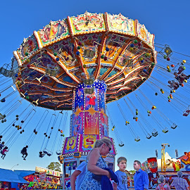 Chain Swing Ride by Marco Bertamé - City,  Street & Park  Amusement Parks ( funfair, ride, sky, schueberfouer, blue, chains, carousel, chain awing )