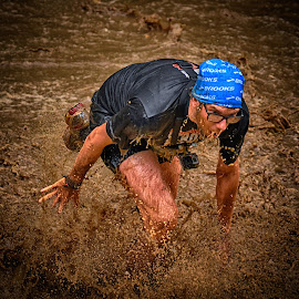 Out Of The The Hell ! by Marco Bertamé - Sports & Fitness Other Sports ( water, mud dirty, splatter, splash, glasses, blue, strong, drops, waterdrops, strongmanrun, running, man,  )
