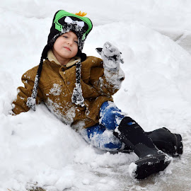Winter Fun by Shannon Maltbie-Davis - Babies & Children Children Candids ( marvin the martian, winter, snow bank, snow, toddler, boy, stocking cap )