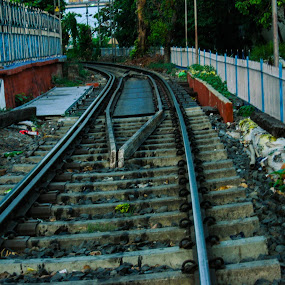 Long way to go by Hrijul Dey - Transportation Railway Tracks ( railway, tracks, platform, transportation, train )