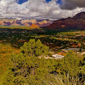 Sedona viewed from the North Western Airport Trail by Steven Love - Landscapes Travel ( famous, tourism, travel, landscape, panorama, destination, city, landmark, arizona, western, view, town, sedona )