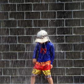 Ahhhh by Alycia Marshall-Steen - Babies & Children Children Candids ( crown fountain, millennium park, chicago, splash, water drops,  )