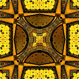 Exx by Lyle Hatch - Illustration Abstract & Patterns ( abstract, 3-d, symmetry, yellow, geometric, fractal, black )