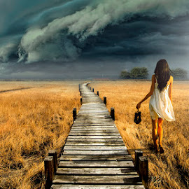 Wrong way.... by Bruno Canon Eos - Digital Art People ( field, girl, nature, dramatic, cloud, way, storm )