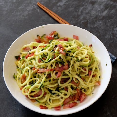 Pear Ginger Lemon Zucchini Noodles with Bacon