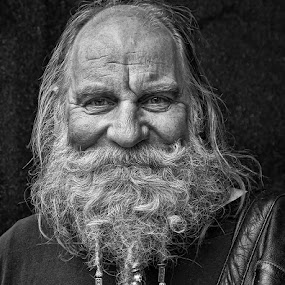 Bearded Man by Mike Shields - People Portraits of Men ( face, black & white, beard, smile, man,  )