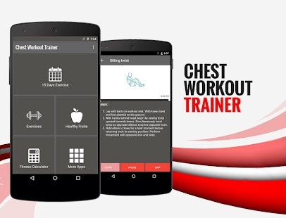15 Days Chest Workout Trainer Fitness app screenshot for Android