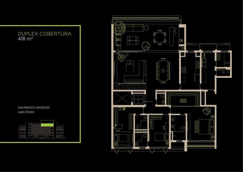 Apto  Cobertura Duplex (42B)  - 418 m² - Piso Inferior
