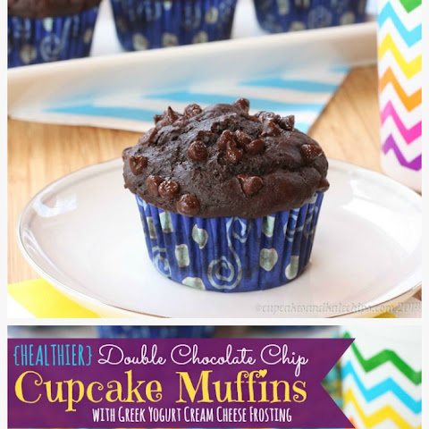 {Healthier} Double Chocolate Chip Muffins with Greek Yogurt Cream Cheese Frosting