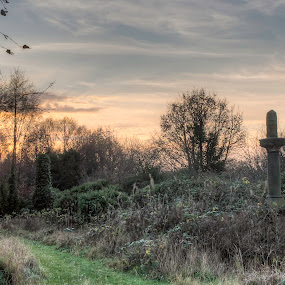 Sunset by Josh Hilton - Landscapes Sunsets & Sunrises ( overgrown, bradford, sunset, cemetery, cloudy )