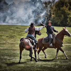 Rattling Sabres by Eugene Linzy - People Street & Candids ( horses, re-enactment, civil war, men, gun smoke, smoke )