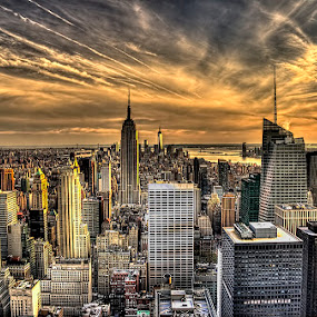 Empire State Bldg at sunset by Pictures that Pop - City,  Street & Park  Skylines ( landmark, travel, , city, night )