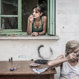 neighboorhood by Anastasia Lagoudaki - People Family ( portait, family, street, neighborhood, women, grandma, people, smoke )