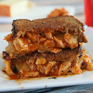 Buffalo Chicken Grilled Cheese Sandwiches.