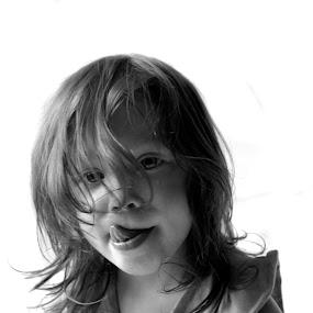 Sad Little Girl by Julie Quesnel - Babies & Children Child Portraits ( babies, face, monochrome, tongue, black and white, sad, children, people, portrait, cry, lick, emotion, child, girl )