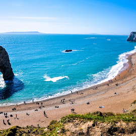 Durdle door by Ritayan Roy - Landscapes Caves & Formations ( sand, cliff, sea, rock, beach, cave )