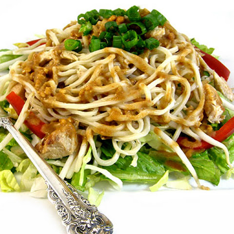 Thai-riffic Noodle Chicken Salad with Peanut Dressing