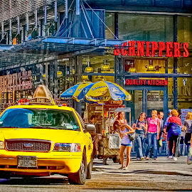 NYC Street Scene at Lunchtime by Sandy Friedkin - City,  Street & Park  Street Scenes ( lunchtime, yellow taxie cab, nyc, street vendor,  )