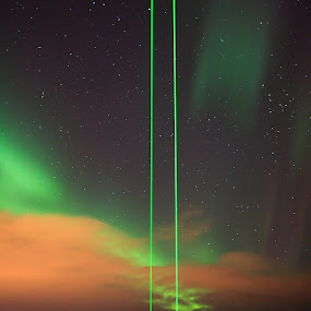 Alomars lasers measure the temprature in space. by Kenneth Pettersen - Landscapes Starscapes ( aurora borealis., alomar, northen light )