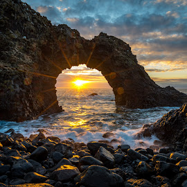 Sunrise in Iceland by Claude Lupien - Landscapes Sunsets & Sunrises ( clouds, skyline, rock formations, waves, landscape photography, beach, sunrise, landscape, rocks )