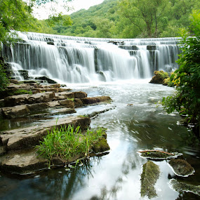 The Mighty Wye  by Russell Mander - Landscapes Waterscapes ( peak district, waterfall, river, power, water )