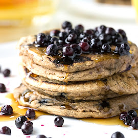 Fluffy Cinnamon Blueberry Pancakes by Angel McNall - Food & Drink Plated Food ( vegan, breakfast, flap jacks, pancakes, eat, gluten free, blueberries )