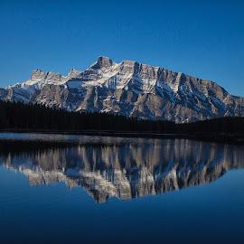 Morning Reflection by Joe Chowaniec - Landscapes Mountains & Hills ( reflection, mountain, nature, lake, landscape, banff )