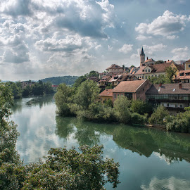 Novo Mesto by Dubravka Krickic - Landscapes Travel ( clouds, novo mesto, small town, old, sky, slovenia, summer, krka, river )
