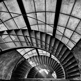 Rusty spiral staircase by Péter Mocsonoky - Buildings & Architecture Architectural Detail ( hungary, old, stair, obsolete, staircase, abandonded, glass, pale, spiral, rusty, industry, concrete )