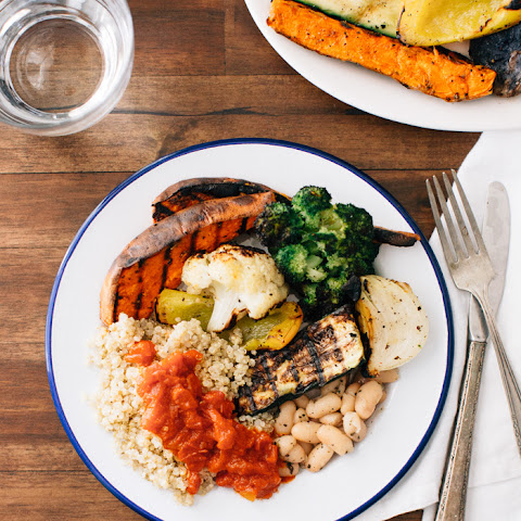 Grilled Vegetables with Quinoa + Tomato Butter Sauce