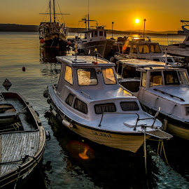 sunset in the port by Eseker RI - Transportation Boats (  )