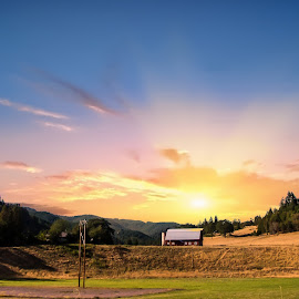 Countryside Sunrise by Jan Davis - Landscapes Sunsets & Sunrises ( sunrise, countryside, barns, countrylife, landscape,  )