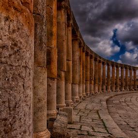 The Pillars of Jerash, Jordan by Rafael Uy - Buildings & Architecture Other Exteriors ( landmark, jerash, pwc82, jordan, travel, middle east, pillars )