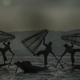 inlay lake fishermen by Jeece Gallay - People Group/Corporate ( fishermen, myanmar, boats, lake )