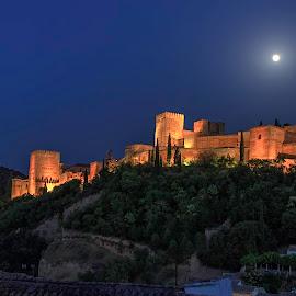 Granada. The Moorish fortress in the heart of Al Andalus, Granada. by Arturo Ávila - Buildings & Architecture Public & Historical ( al andalus, blue light, moon, citadel, alhambra, generalife, dusk, granada, spain )