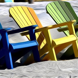 Waiting For The Group by Roxanne Dean - Artistic Objects Still Life ( sand, gray sand, colorful, chairs, colors )