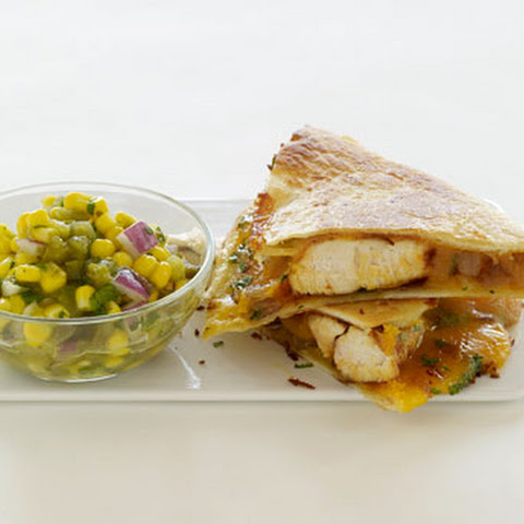 Chicken Cheddar Quesadillas with Tomato and Corn Salsa