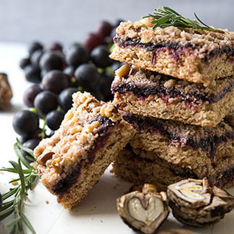 Rosemary Grape Bars with Black Walnut Crumb