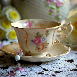 Teacup in flowers by Rhonda Kay - Artistic Objects Still Life