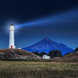 Cape Egmont by Peter Kennett - Landscapes Travel ( mountain, cape, lighthouse, sea, egemont, coast, moonlight, new zealand, cape egmont, volcano, moonlit, egmont, light house, night, taranaki )