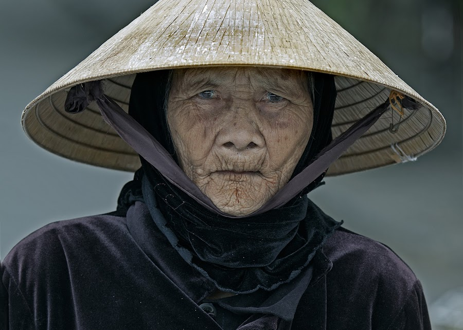 Grey Eyes by Jack van der Heijden - People Portraits of Women ( hoi an vietnam )