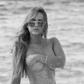 by Ugo Lora - People Portraits of Women ( water, sand, sexy, nude, topless, nature, black and white, sandy, beach, sunglasses, portrait )