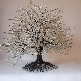 I'm just awesome! by Carol Mickey - Artistic Objects Other Objects ( tree in wire, wire sculpture, black & silver )