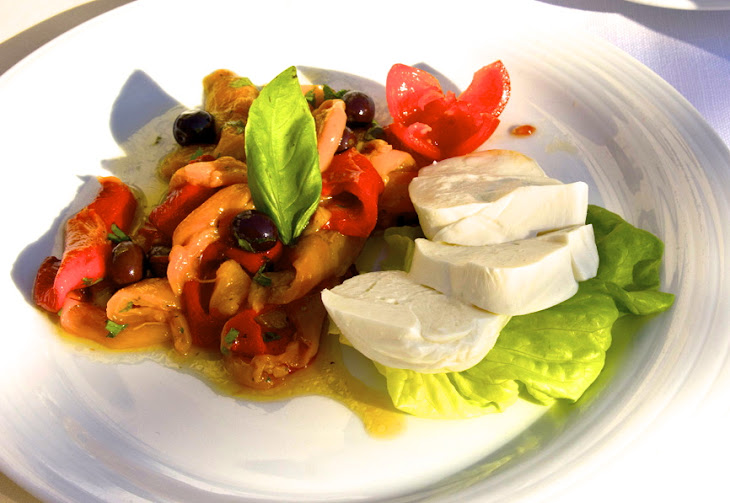 Fresh Buffalo Mozzarella with Roasted Peppers Appetizer Recipe ...