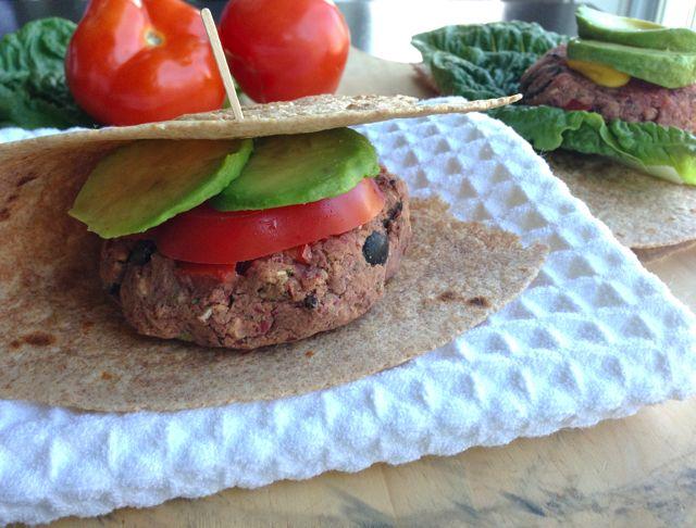 Mediterranean Bean Burgers on whole-grain tortilla Recipe | Yummly
