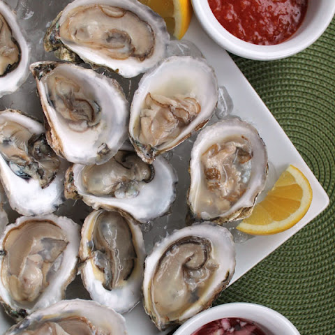Trio of Oysters with Mignonette and Spicy Cocktail Sauce