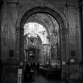 Church at Puebla II by Cristobal Garciaferro Rubio - Buildings & Architecture Places of Worship ( interior, catholic, building, bench, church, black and white, puebla, dome, monotone )