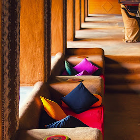 Comfort Seating by Ajay Sood - Artistic Objects Still Life ( sofa, pwcstilllife-dq, mud, ajay, sood, cushions, seating, travelure, travel, light and shade )