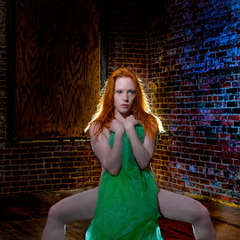Red in abandoned mill by Stephen Goodhue - Nudes & Boudoir Artistic Nude ( mill, grundge, red, ginger, red shoes, green cloth, redhead, factory, bricks, heels )