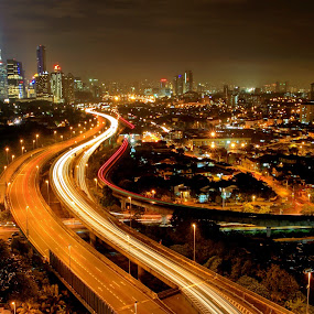 Night view of Kuala Lumpur by Terrence Yap - City,  Street & Park  Skylines